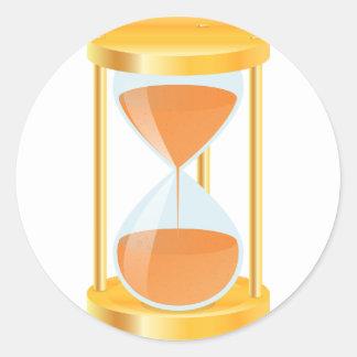 Pegatinas del reloj de arena del oro pegatina redonda