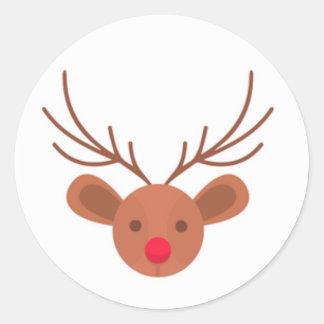 Pegatinas del reno de Rudolph del navidad Pegatina Redonda