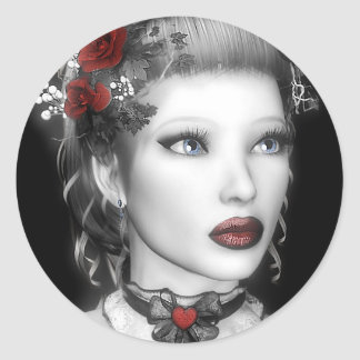 Pegatinas del retrato de BW Etiqueta Redonda