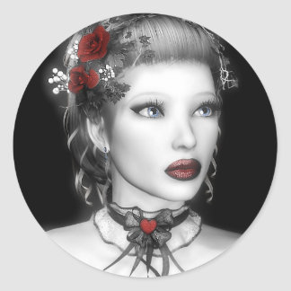 Pegatinas del retrato de BW Etiquetas Redondas