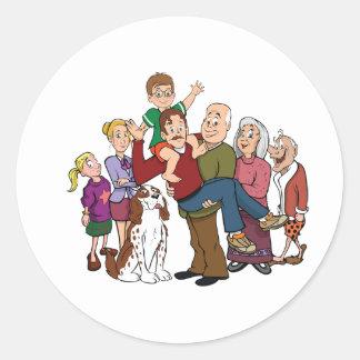 Pegatinas del retrato de la familia pegatina redonda