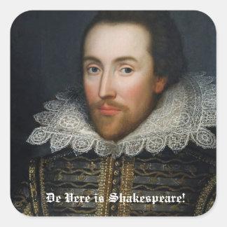 Pegatinas del retrato de Shakespeare Pegatina Cuadrada