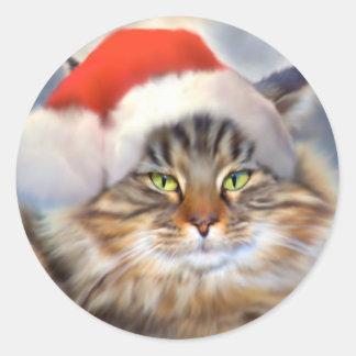 Pegatinas del retrato del navidad del gato de Coon Etiqueta Redonda