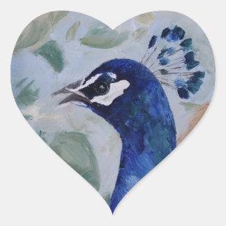 Pegatinas del retrato del pavo real pegatina en forma de corazón