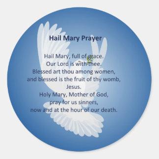 Pegatinas del rezo de Maria del saludo Pegatina Redonda