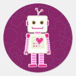 Pegatinas del robot del chica etiqueta redonda
