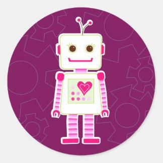 Pegatinas del robot del chica pegatina redonda