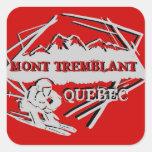 Pegatinas del rojo del logotipo del esquí de Mont Pegatina Cuadradas Personalizada