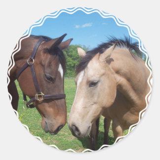 Pegatinas del romance del caballo pegatina redonda