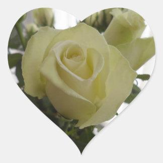Pegatinas del rosa blanco pegatina en forma de corazón