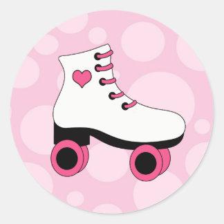 Pegatinas del rosa del chicle del patinaje sobre pegatina redonda