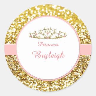 Pegatinas del rosa y de la princesa del oro pegatina redonda
