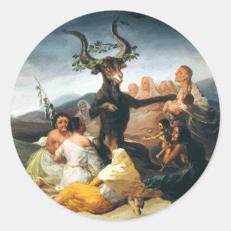 Pegatinas del Sabat de las brujas de Goya Pegatina Redonda
