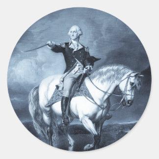 Pegatinas del saludo de George Washington Etiqueta Redonda