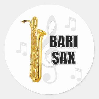 Pegatinas del saxofón del barítono pegatina redonda