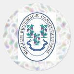 Pegatinas del sello del estado de Connecticut Etiqueta Redonda