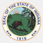 Pegatinas del sello del estado de Indiana Pegatina Redonda