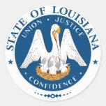 Pegatinas del sello del estado de Luisiana Etiquetas Redondas