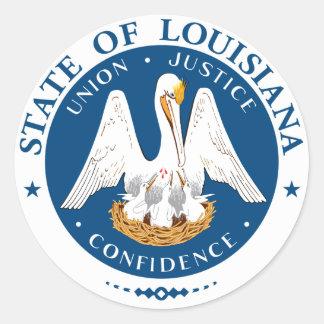 Pegatinas del sello del estado de Luisiana Pegatina Redonda