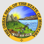 Pegatinas del sello del estado de Montana Pegatina Redonda
