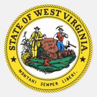 Pegatinas del sello del estado de Virginia Etiqueta Redonda