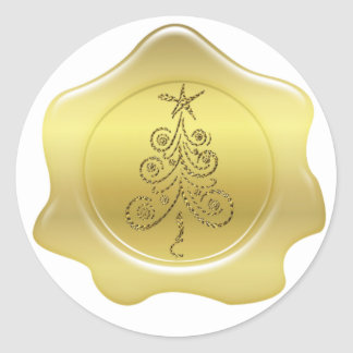 Pegatinas del sello del navidad de la cera del oro pegatina redonda
