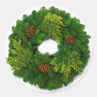 Pegatinas del sello del navidad de la guirnalda pegatina redonda