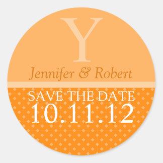Pegatinas del sello del sobre del boda de octubre pegatina redonda