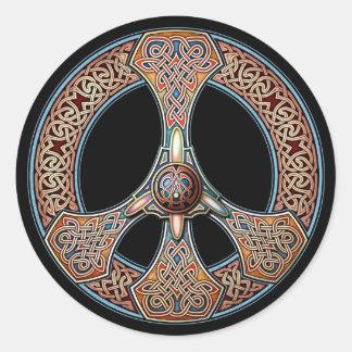 Pegatinas del signo de la paz de Knotwork Pegatina Redonda