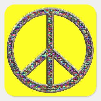 Pegatinas del signo de la paz de las joyas colcomanias cuadradas