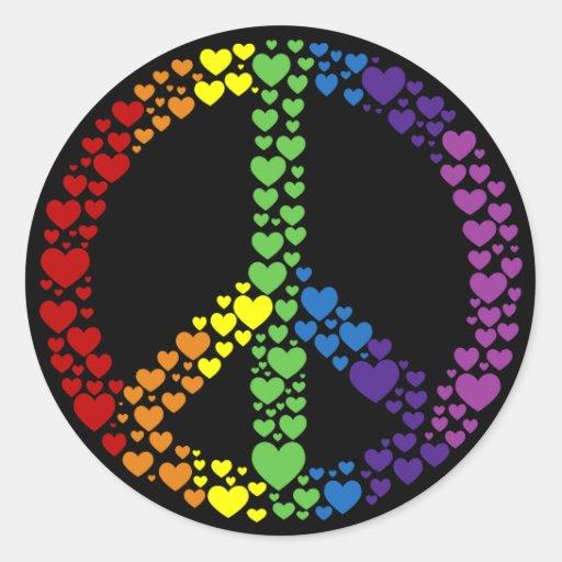 Pegatinas del signo de la paz de los corazones del pegatina redonda