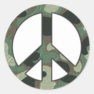 Pegatinas del signo de la paz del camuflaje pegatina redonda