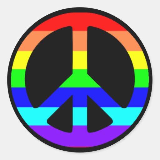 Pegatinas del símbolo de paz del orgullo gay pegatina redonda