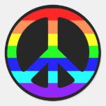 Pegatinas del símbolo de paz del orgullo gay (text