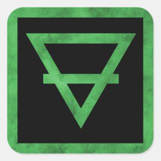 Pegatinas del símbolo del elemento de la tierra pegatina cuadrada