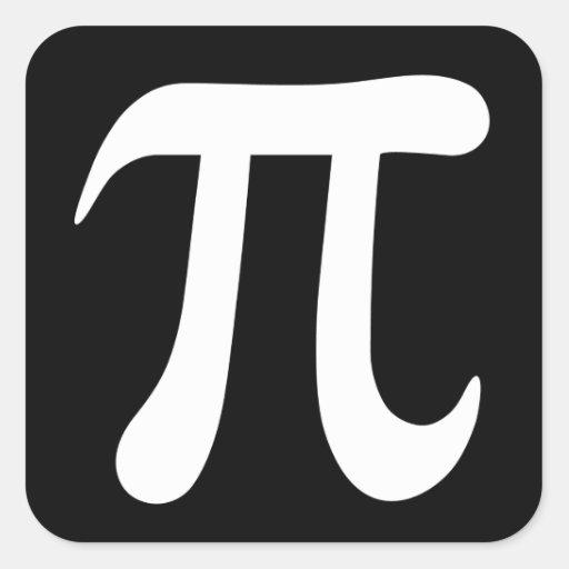 Pegatinas del símbolo del pi, blancos y negros pegatina cuadrada