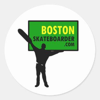 Pegatinas del skater de Boston Pegatina Redonda