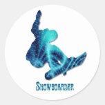 Pegatinas del Snowboarder Pegatina Redonda