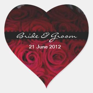 Pegatinas del sobre y del favor del rosa rojo pegatina en forma de corazón