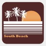 Pegatinas del sur retros de la playa pegatina cuadrada