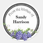 Pegatinas del tarro de la jalea de uva etiqueta redonda