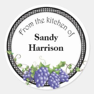Pegatinas del tarro de la jalea de uva