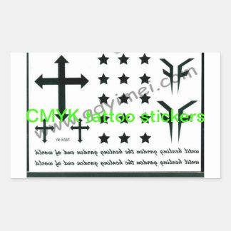Pegatinas del tatuaje de CMYK Rectangular Pegatinas