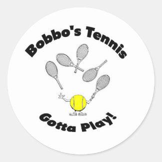Pegatinas del tenis de Bobbo Pegatina Redonda