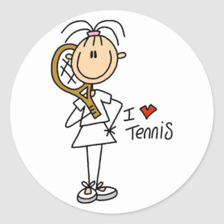 Pegatinas del tenis del amor del chica I Etiquetas Redondas