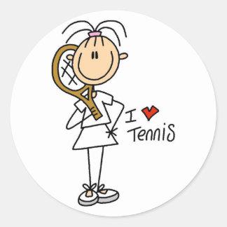 Pegatinas del tenis del amor del chica I Pegatina Redonda