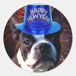 Pegatinas del terrier de Boston de la Feliz Año Pegatina Redonda