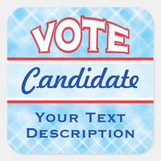 Pegatinas del texto del personalizar del VOTO Pegatina Cuadrada
