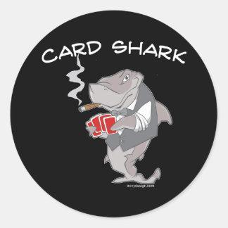 Pegatinas del tiburón de tarjeta pegatina redonda