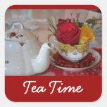 Pegatinas del tiempo del té - cuadrado pegatina cuadradas